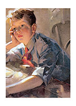 A Contemplative Boy (Boys Children Art Prints)