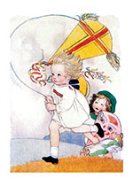 Little Girls Running With Kites (Girls Children Art Prints)