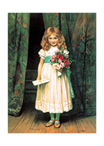 A Sweet Little Girl Presenting A Bouquet (Girls Children Greeting Cards)