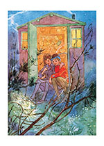 Boy & Girl in Doorway of a Treehouse