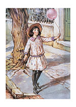 A Little Girl Walking With Her Balloon (Girls Children Art Prints)