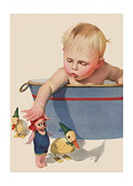 Baby in Bath with Toys (Baby Greeting Cards)