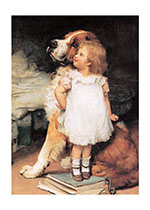 St. Bernard & Girl (Girls Children Greeting Cards)