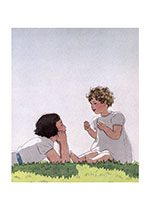 Talking Beneath A Perfect Sky (Girls Children Greeting Cards)