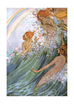 Mermaids In The Waves (Mermaids Art Prints)