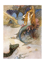 A Mermaid Brushing Her Hair (Mermaids Art Prints)
