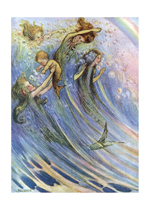 Mermaids Swimming w/ Baby (Mermaids Art Prints)