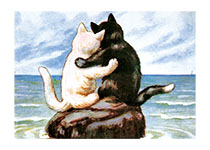 Cats Hugging (Captivating Cats Animals Art Prints)