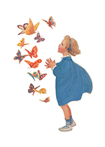 Surprised By Butterflies (Jessie Willcox Smith Greeting Cards)