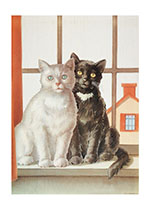 Cats at Window (Captivating Cats Animals Art Prints)
