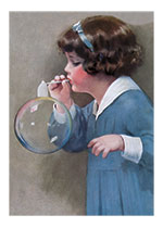 Girl Bubble Blower (Girls Children Art Prints)