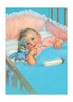 Baby With Bunny Toy (Baby Greeting Cards)