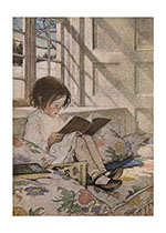 Girl Reading at Window - Picture Books in Winter