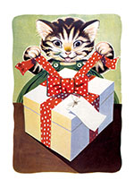 Cat Opening Gift (Captivating Cats Animals Art Prints)