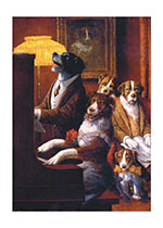 Dogs Playing Piano (Birthday Greeting Cards)