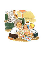 Family Reading Newspaper (Family Art Prints)