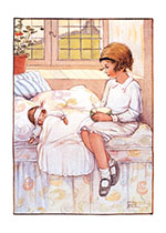 Nursing the Doll Blank (Dolls Art Prints)
