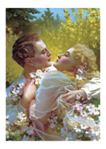 An Embrace Among The Flowers (Romantic Art Prints)
