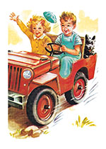 A Boy and a Girl Riding in a Car (Delightful Dogs Animals Art Prints)