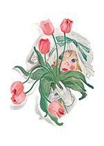 An Enchanting Child With Pink Tulips (Girls Children Greeting Cards)