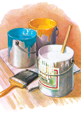 Cans of Paint for the New Home (Home & Hearth Greeting Cards)