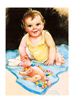 Baby With Toy Pig (Baby Greeting Cards)