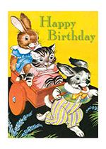Rabbit, Cat & Dog (Birthday Greeting Cards)