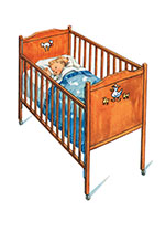 Baby in Crib (Baby Greeting Cards)