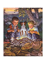 Kids and Dog By the Campfire (Children's Playtime Children Art Prints)