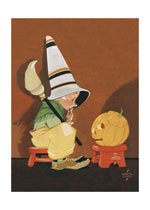 Cute Witch & Jack-O-Lantern (Classic Halloween Art Prints)