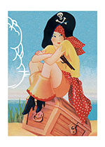 Jaunty Pirate Woman (Women Art Prints)