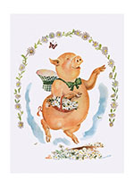 A Pig With Flowers (Animal Friends Animals Greeting Cards)