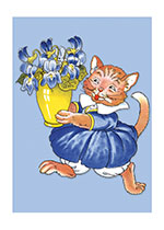 Cat In Blue Dress (Captivating Cats Animals Greeting Cards)