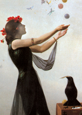 Enchantress With Raven (Women Greeting Cards)