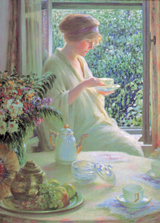 Tea in A Sunny Window (Women Greeting Cards)