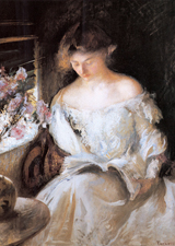 Woman in White Reading (Women Art Prints)