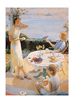 Women Having Tea on a Sunny Verandah (Women Greeting Cards)