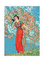 Woman In Flowering Tree With Bird (Women Greeting Cards)
