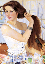 Woman Brushing Her Hair (Women Art Prints)