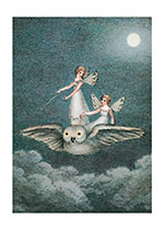 Fairies Riding Owl (Birthday Greeting Cards)