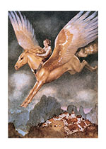 A Boy Riding a Winged Horse (Boys Children Greeting Cards)