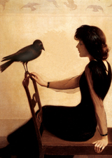 Woman In Black With Raven (Women Greeting Cards)