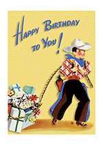 A Little Cowboy Lassos Some Gifts (Birthday Greeting Cards)