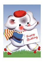 Roller Skating Elephant (Birthday Greeting Cards)