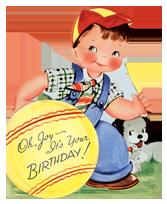 Boy w/ Ball & Dog (Birthday Greeting Cards)