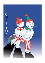 Cheerio! Skating Snow People (Snowmen Christmas Greeting Cards)