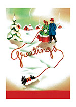 Walking the Dog on a Snowy Day (Many More Christmas Greeting Cards)