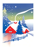 A Red Cabin In The Snow (Many More Christmas Greeting Cards)