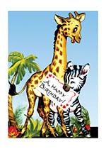 A Giraffe and Zebra Say Happy Birthday! (Birthday Greeting Cards)