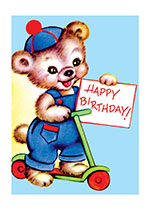 Baby Bear on Scooter (Birthday Greeting Cards)